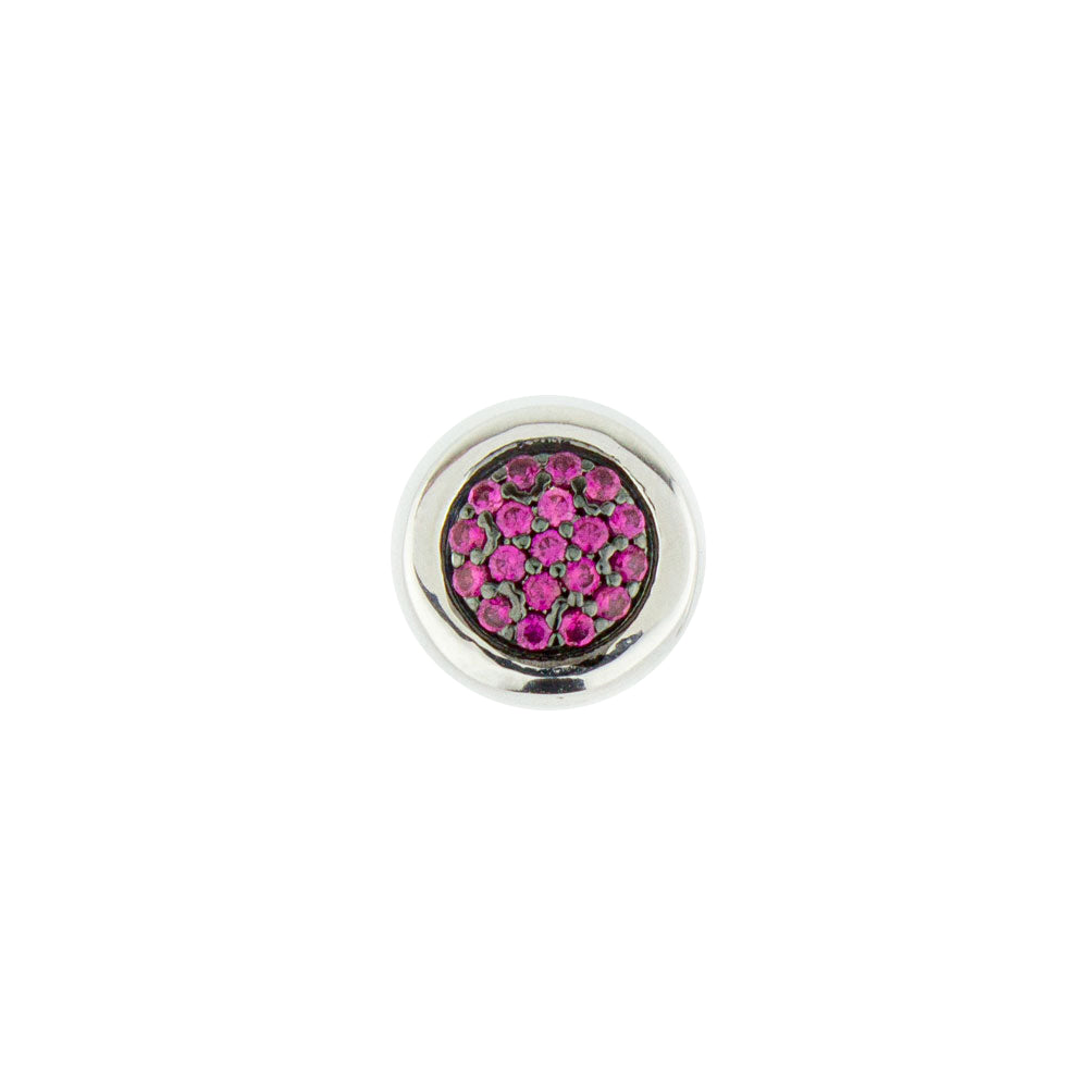 Double Sided Pavé  Round Bead - Ruby