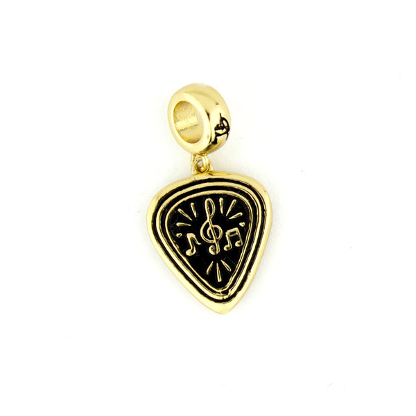 Music Notes & Pick Charm - Gold