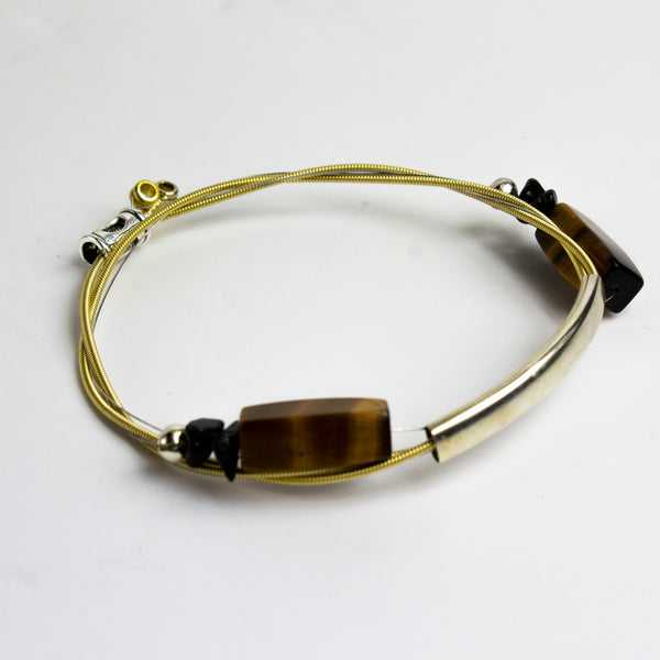 Guitar String Bracelet w/Jasper Brown Stones (Women) - Gold