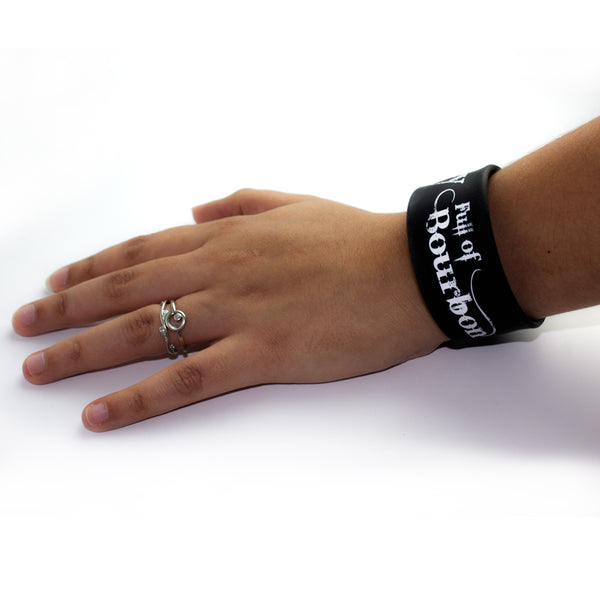 Slap Band 2 Pack - Jockey Full of Bourbon - Black Band White Letters