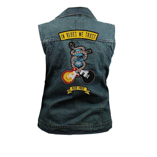 In Blues We Trust Back Patch - Blue Denim Vest with Studded Collar (Women)