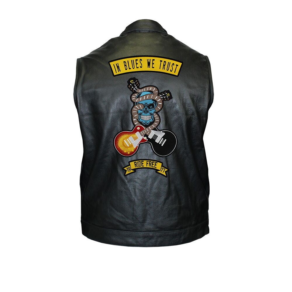In Blues We Trust Back Patch - Motorcycle Club Leather Vest (Men)