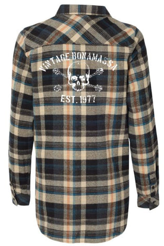 JB Vintage Flannel Long Sleeve (Women) - Dark Khaki