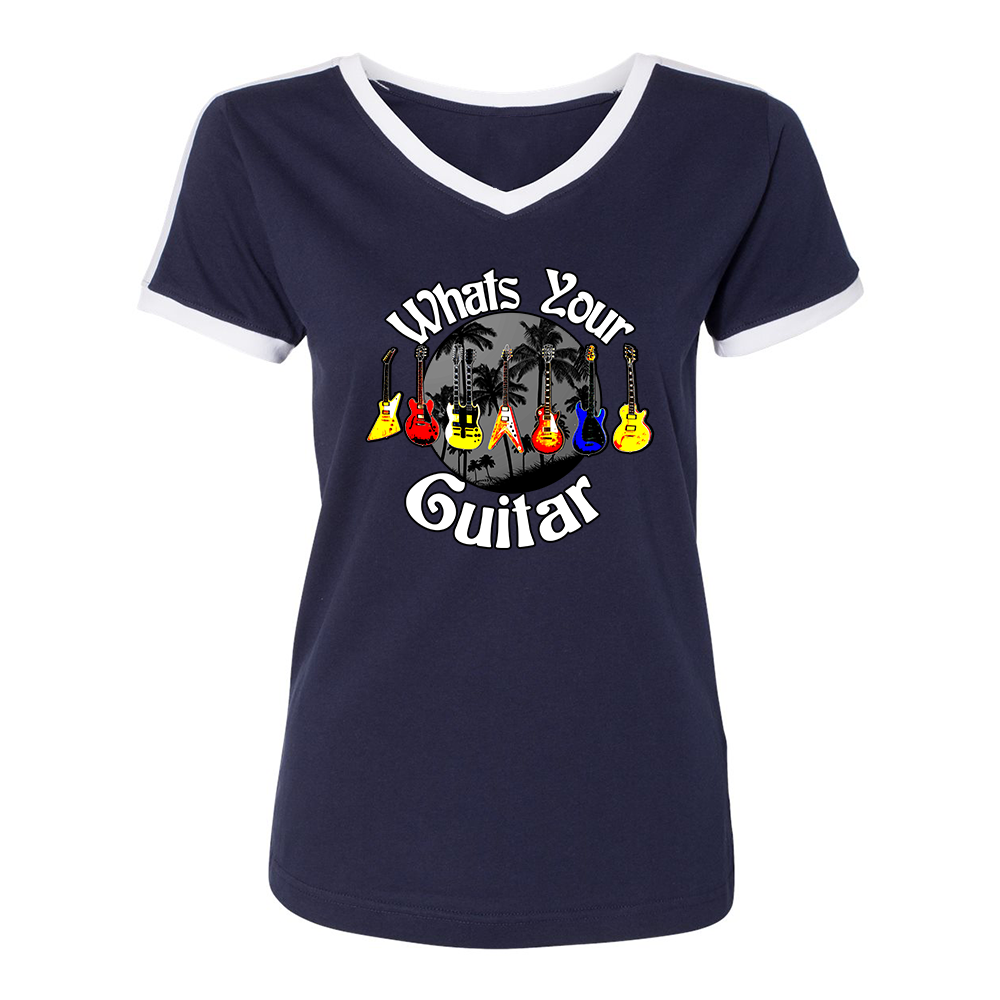 What's Your Guitar V-Neck (Women) - Navy/White