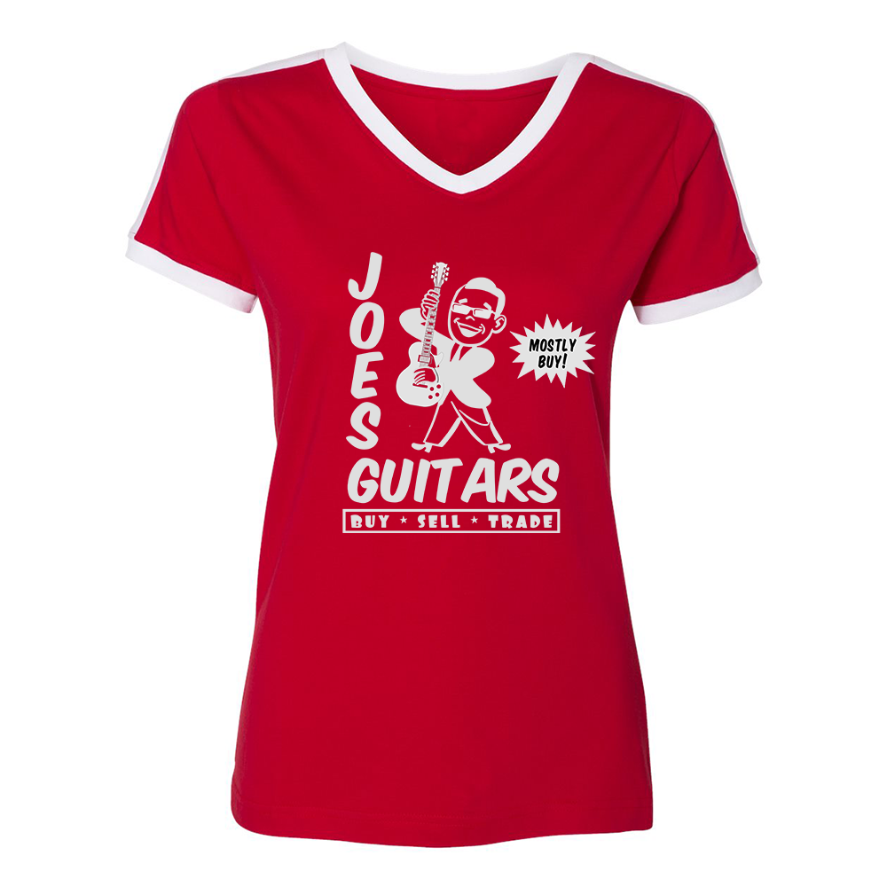Joe's Guitars V-Neck (Women) - Red/White
