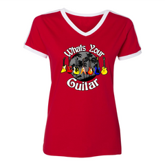 What's Your Guitar V-Neck (Women) - Red/White