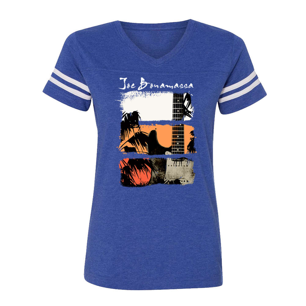 Shades of Summer Blues V-Neck (Women) - Vintage Royal/White