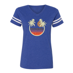 Bonamassa Summer Palms V-Neck (Women) - Vintage Royal/White