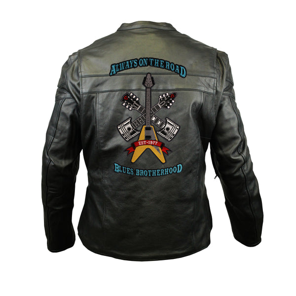 Always on the Road Back Patch - Racer Leather Jacket with Vents (Men)