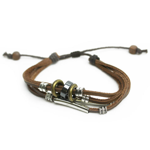 Silver Beaded Leather Bracelet (Unisex) - Brown