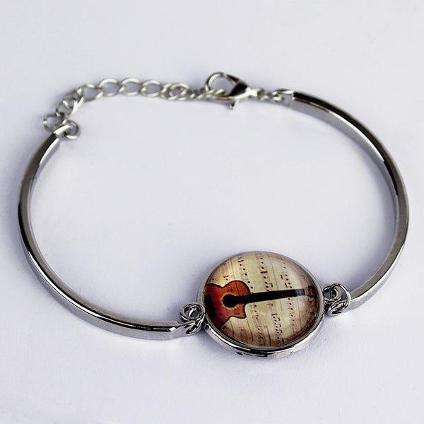 Guitar Silver Bangle - Natural