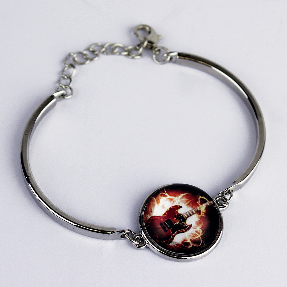 Guitar Silver Bangle - Red
