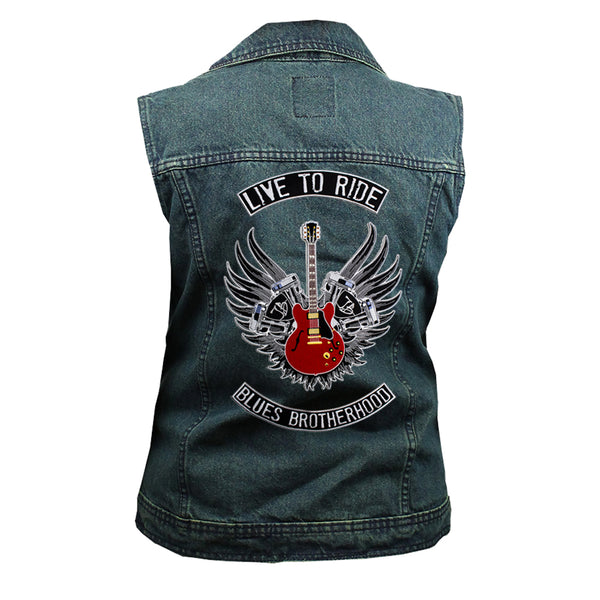 Live to Ride Back Patch - Blue Denim Vest with Studded Collar (Women)