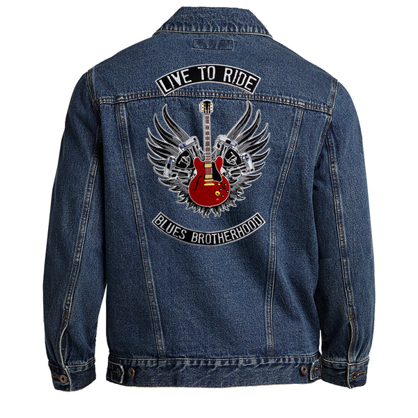 Live to Ride Back Patch - Port Authority Denim Jacket (Men)