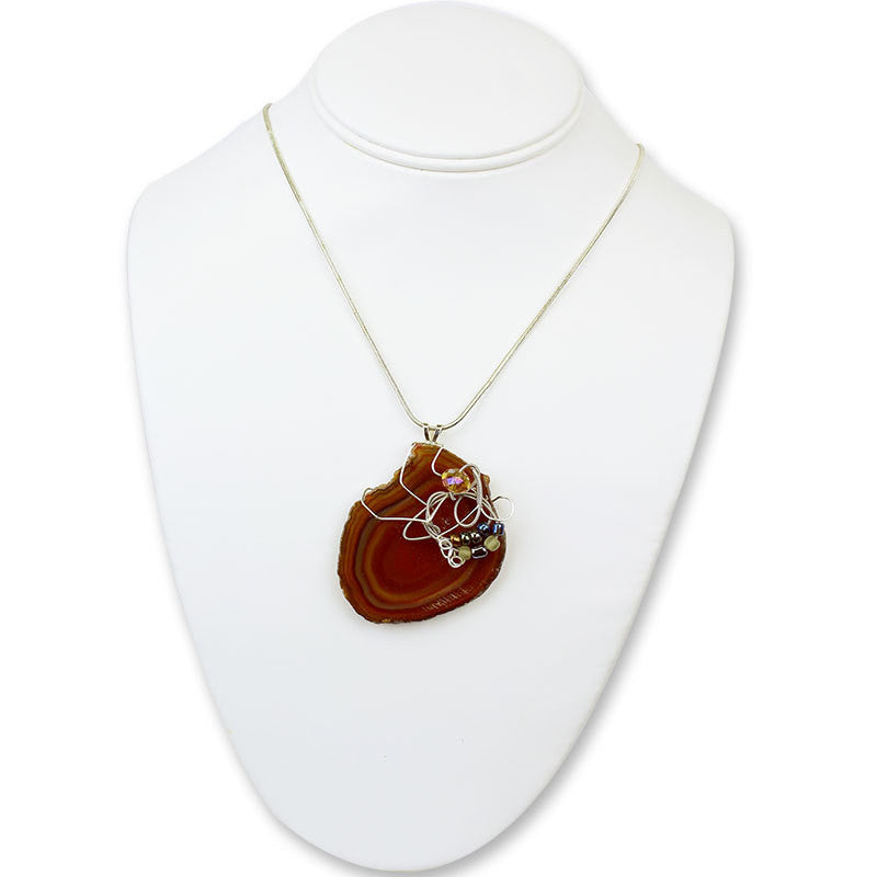 Stone Agate & Guitar String Necklace - Red/Chrome