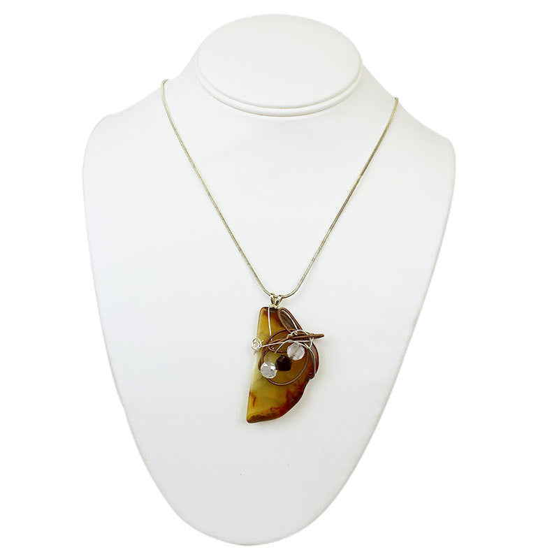Stone Agate & Guitar String Necklace - Brown/Copper