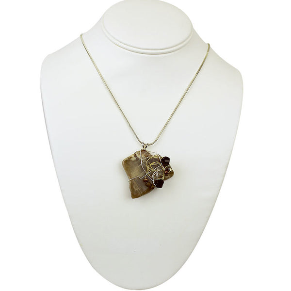 Stone Agate & Guitar String Necklace - Brown & Cream/Brass