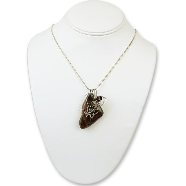 Stone Agate & Guitar String Necklace - Variegated/Chrome