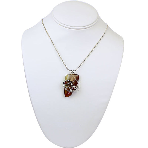 Stone Agate & Guitar String Necklace - Caramel/Chrome