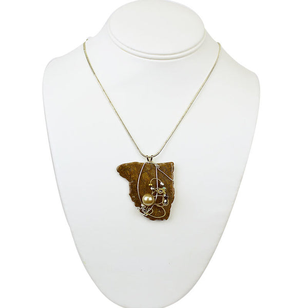 Stone Agate & Guitar String Necklace - Polished Brown/Brass