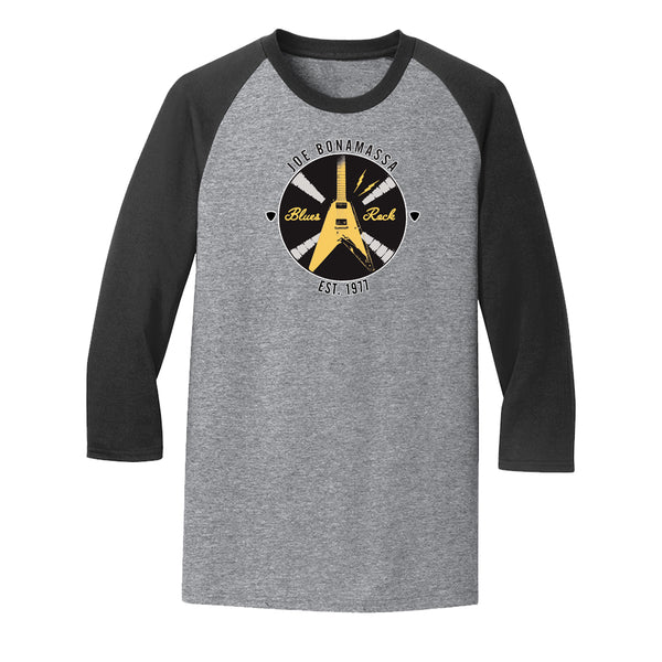 Electric Flying V 3/4 Sleeve T-Shirt (Unisex) - Heather Black