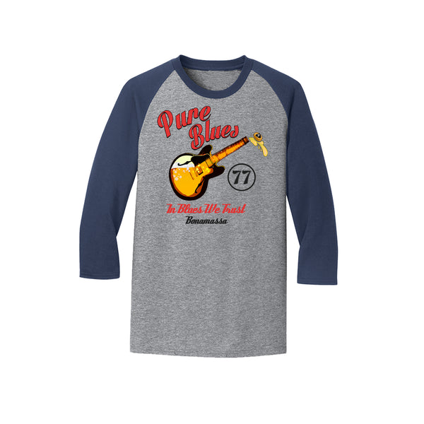 Brews & Blues 3/4 Sleeve T-Shirt (Unisex) - Heather Navy