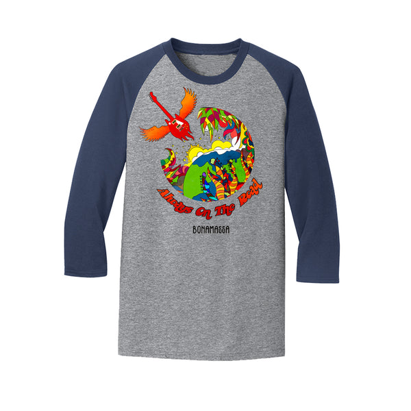 Blues Universe 3/4 Sleeve T-Shirt (Unisex) - Heather Navy
