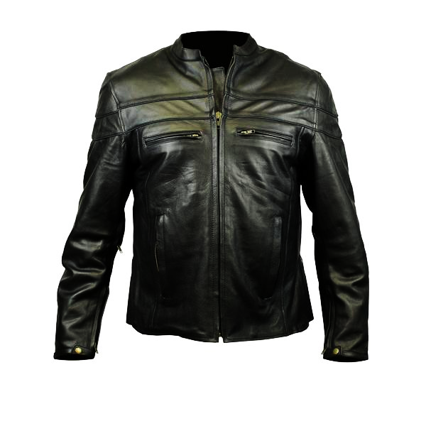 Blues Brotherhood Back Patch - Racer Leather Jacket with Vents (Men)