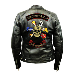 Blues Brotherhood Back Patch - Top Grain 3 Pocket Leather Jacket (Women)