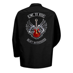 Live to Ride Back Patch - Dickies Long Sleeve Work Shirt (Men)