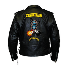 In Blues We Trust Back Patch - Top Grain Classic Motorcycle Leather Jacket with Lace Sides & Z/O Liner (Men)