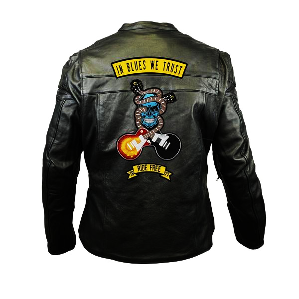In Blues We Trust Back Patch - Racer Leather Jacket with Vents (Men)
