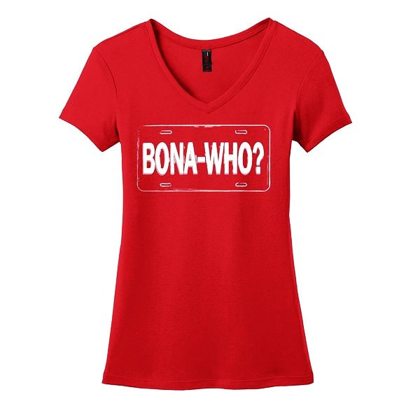 Bona Who? License Plate V-Neck (Women) - Red