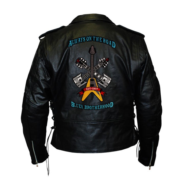 Always on the Road Back Patch - Top Grain Classic Motorcycle Leather Jacket with Lace Sides & Z/O Liner (Men)