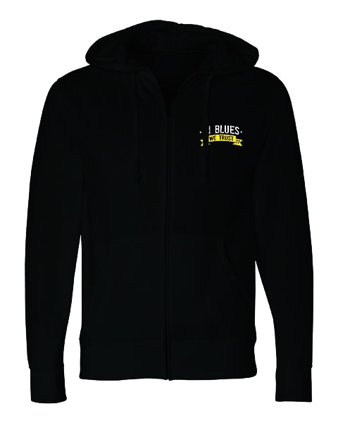 In Blues We Trust Zip-Up Hoodie (Unisex) - Black