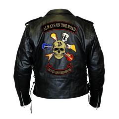 Blues Brotherhood Back Patch - Top Grain Classic Motorcycle Leather Jacket with Lace Sides & Z/O Liner (Men)