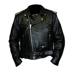 Highway to Blues Back Patch - Top Grain Classic Motorcycle Leather Jacket with Lace Sides & Z/O Liner (Men)