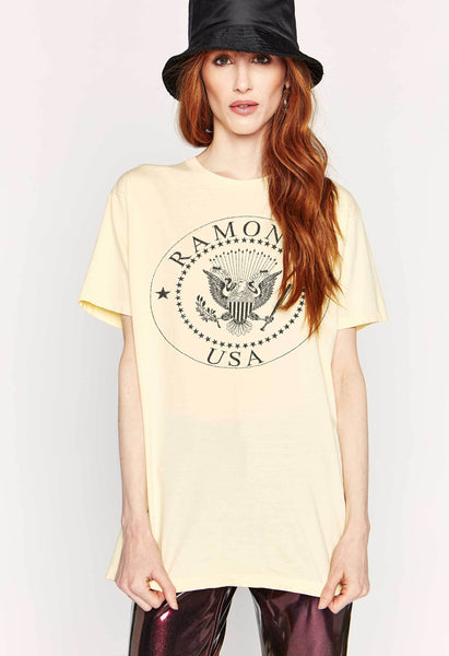 Ramones USA Crest Weekend T-Shirt - Buttercream