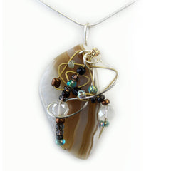 Stone Agate & Guitar String Necklace - Oval/Bronze