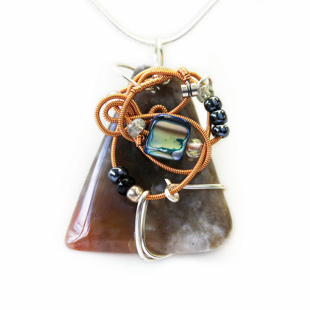 Stone Agate & Guitar String Necklace - Triangular/Copper