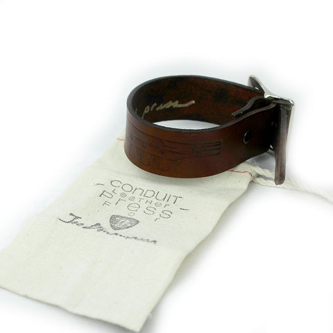 Headstock Leather Bracelet (Thick)