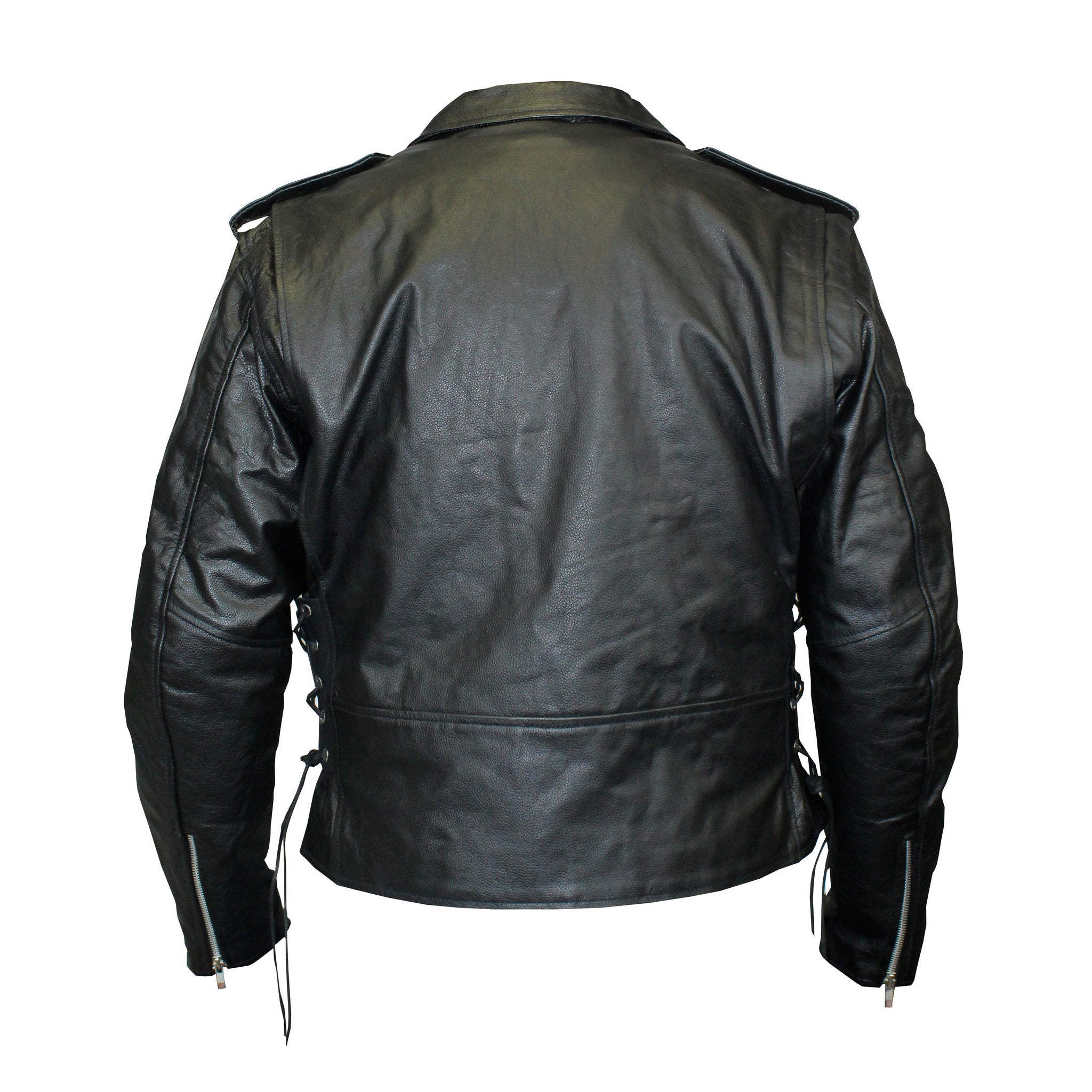 Top Grain Classic Motorcycle Leather Jacket with Lace Sides & Z/O Liner (Men)