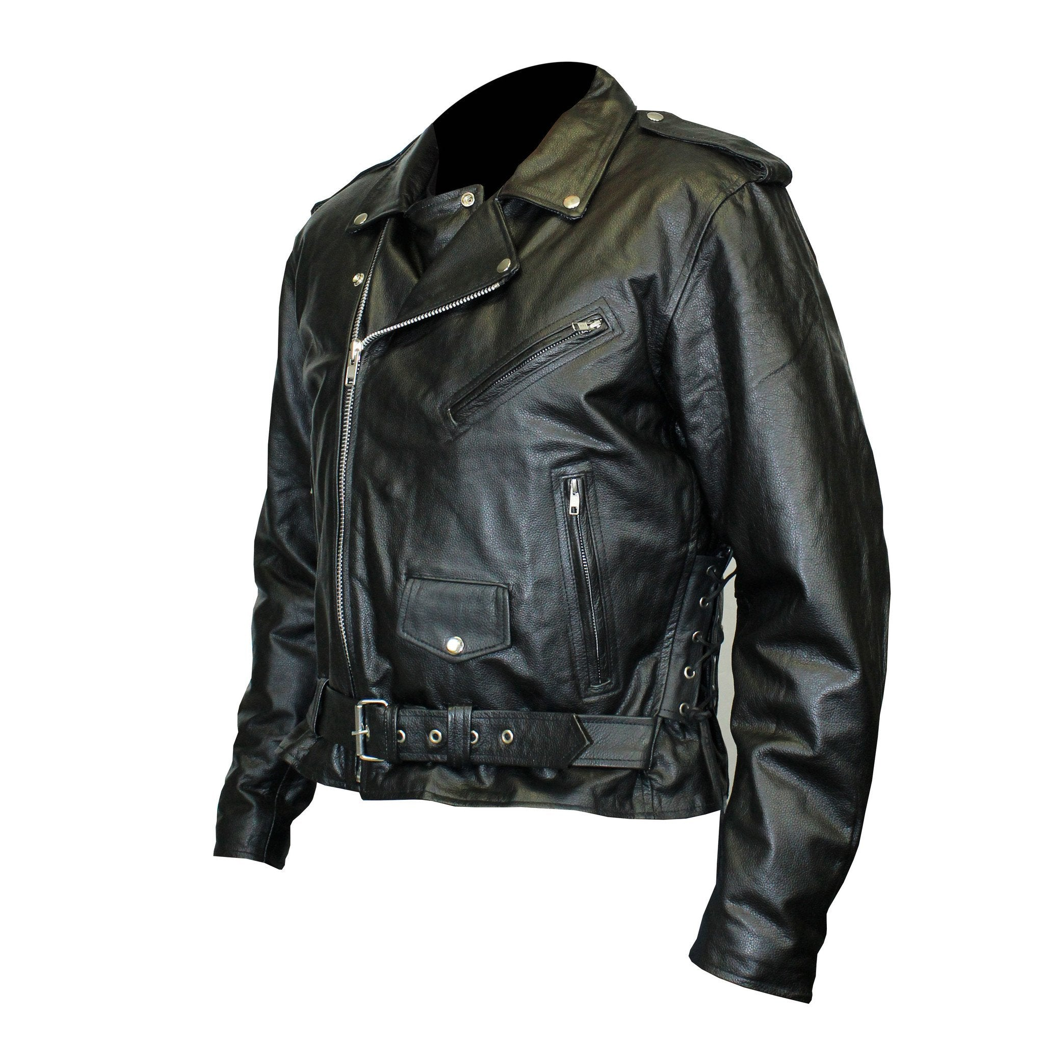 Live to Ride Back Patch - Top Grain Classic Motorcycle Leather Jacket with Lace Sides & Z/O Liner (Men)