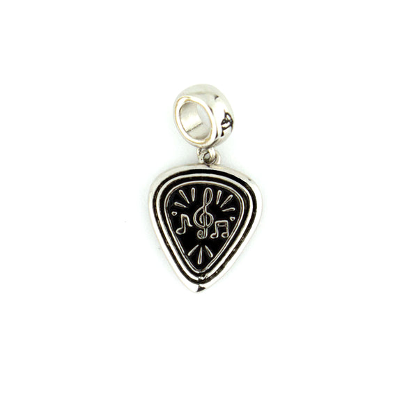 Music Notes & Pick Charm - Silver