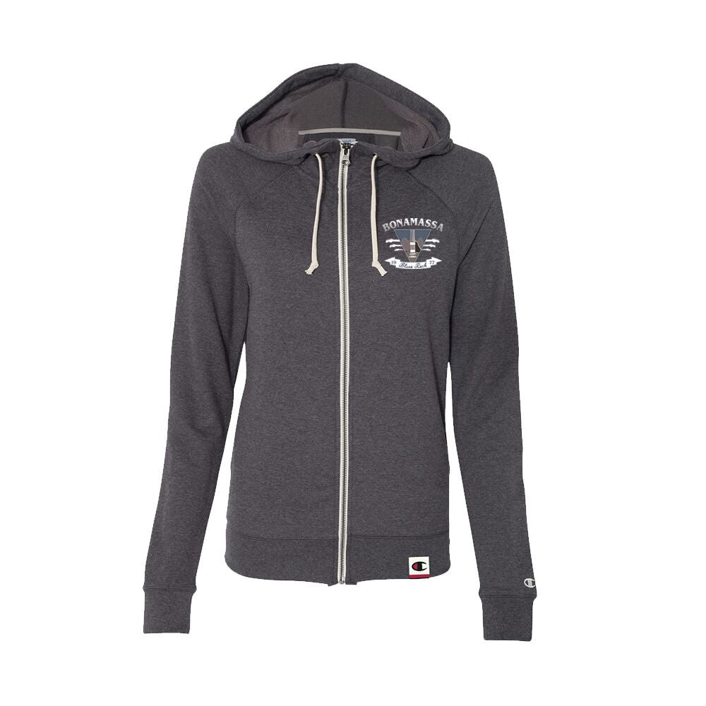 Blues Rock Guitar Logo - Champion Women's Zip-Up Hoodie (Charcoal)