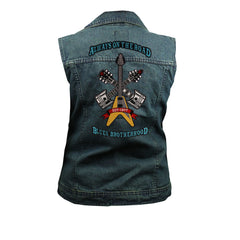 Always on the Road Back Patch - Blue Denim Vest with Studded Collar (Women)