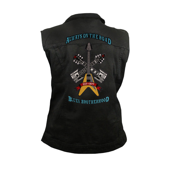 Always on the Road Back Patch - Black Denim Vest with Studded Collar (Women)
