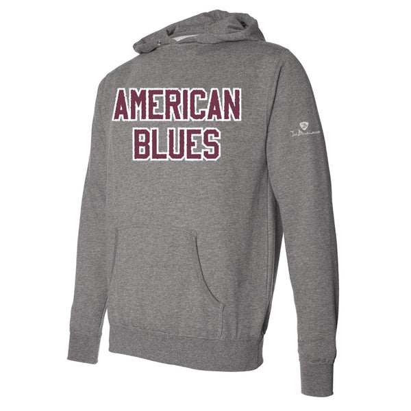 American Blues Applique Pullover Hoodie - Wine/Heather (Unisex)