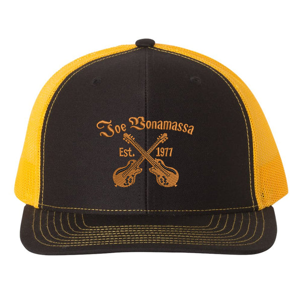 Always On The Road Snapback Trucker Hat - Black/Gold