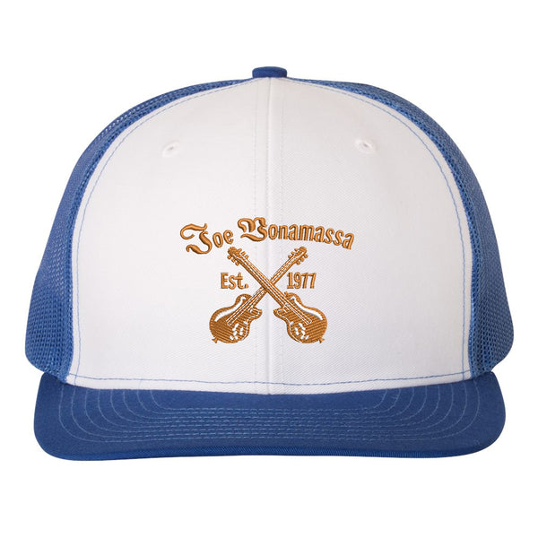 Always On The Road Snapback Trucker Hat - White/Royal